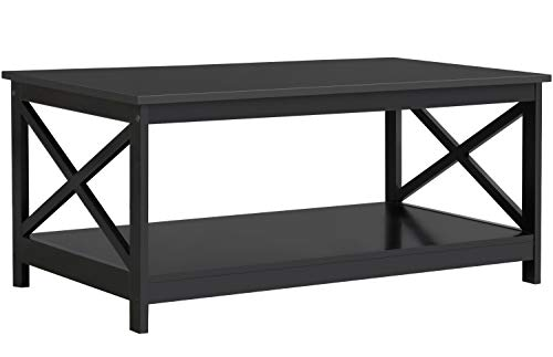 YAHEETECH Wood 2-Tier Black Coffee Table with Storage Shelf for Living Room, X Design Accent Cocktail Table, Easy Assembly Home Furniture, 39.5 x 21.5 x 18 Inches