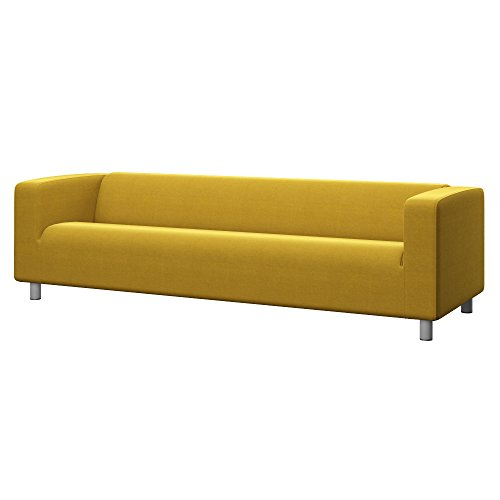 Soferia Bezug fur IKEA KLIPPAN 4er-Sofa, Stoff Elegance Dark Yellow