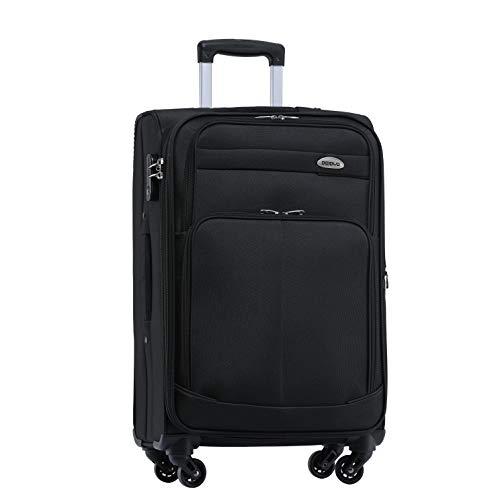 BEIBYE 4 Rollen Reisekoffer 3tlg.Stoffkoffer Handgepäck Kindergepäck Gepäck Koffer Trolley Set-XL-L-M (Schwarz, M-Handgepäck-54cm)