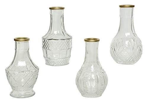 Decoris Vase Glas 11,5cm x 1 Stück mit Goldrand und Relief Blumenvase
