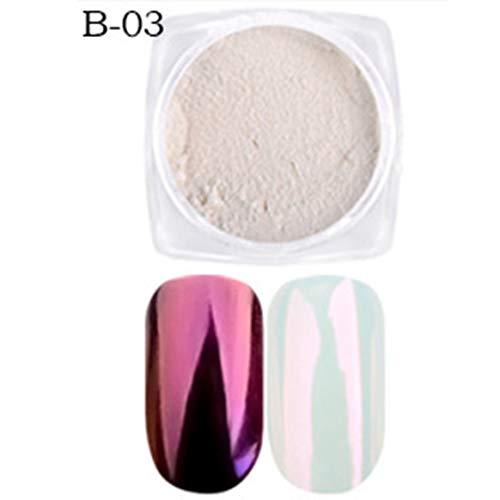 Nail Art Shell Poudre Mirror Powder Rainbow Candy Couleur Décoloré - B03