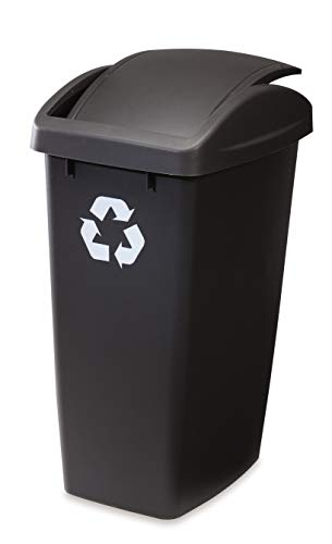 Rubbermaid SwingTop Lid Recycling Bin for Home Kitchen and Bathroom 125 Gallon Recycle Bin With Lid Recycling Can Gray