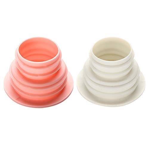 VOSAREA 2pcs Tubo Flessibile Guarnizione Anello di deodorizzazione prevenzione degli Insetti Tappo di Chiusura per Lavatrice Scarico a Pavimento fognario (Bianco + Nordic Rosa)