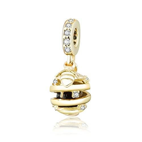 Pandora 925 Charm Se Adapta A Pulseras Originales Diy Jewelry Berloque Silver Bee Honeycomb Homebeads Con Clear