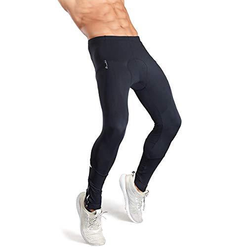 Przewalski Men Bike Pants, Long Thermal 3D Padded Cycling Tights Leggings Brushed Fleece Breathable