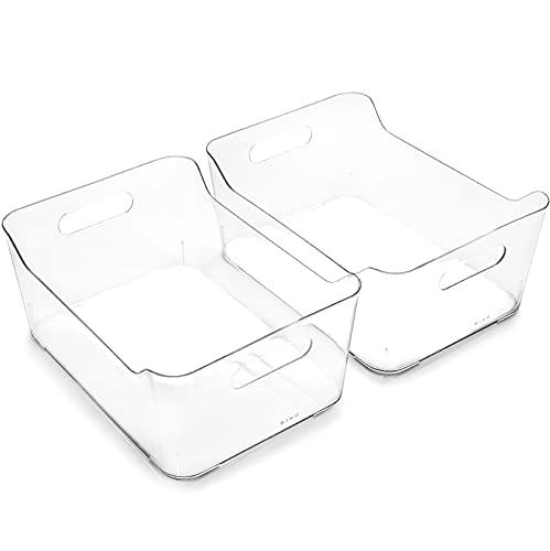 BINO | Plastic Storage Bins, Large - 2 Pack | The SOHO Collection | Multi-Use Organizer Bins | Built-in Handle | BPA-Free | Pantry Organization | Home Organization | Fridge Organizer | Freezer Org