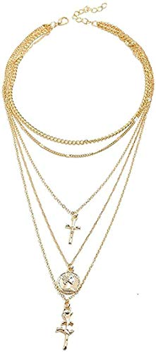 ZGYFJCH Co.,ltd Collar de Moda Vintage Rose Flower Cruz Colgante, Collar para Mujer, Gargantilla de Monedas, Collares Largos de Oro Multicapa, joyería Boho