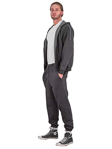 Love My Fashions® Mens Tracksuit Set Kids Contrast Cord Fleece Hoodie Top Bottoms Jogging Zip Joggers Gym Causal Exercise Running Sport Sweat Suit Pants Plus Size S M L XL XXL Charcoal