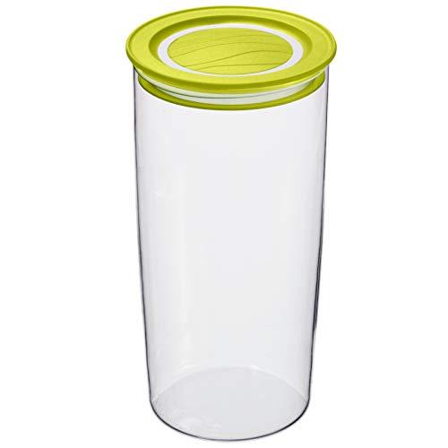 Rotho Cristallo runde Vorratsdose 1,2l mit Deckel und Dichtung, Kunststoff (SAN) BPA-frei, transparent/grün, 1,2l (11,0 x 11,0 x 19,3 cm)