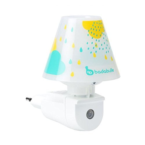 Badabulle B015011 LED-Nachtlicht mit Schirm für die Steckdose, mit Tag/Nacht-Einschaltautomatik, Mehrfarbig (Baby Blau/Gelb/Mehfarbig)