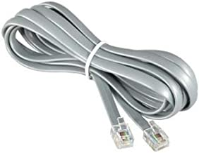 InstallerParts RJ12 Modular Telephone Cord Extension- Reverse Wiring, Silver (14FT)