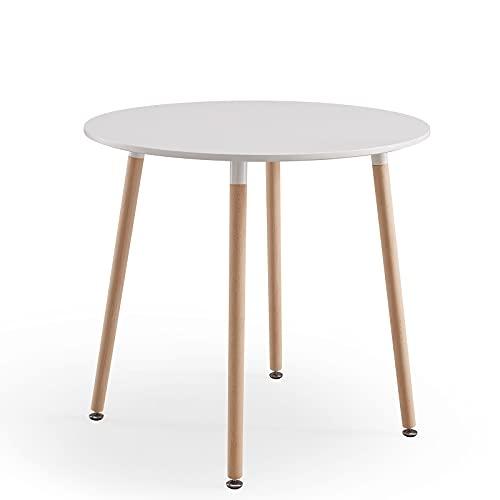 FATI Runder Esszimmertisch Weiß Tisch Konferenztisch mit 4 Holzbeinen für Schlafzimmer, Wohnzimmer und Büro