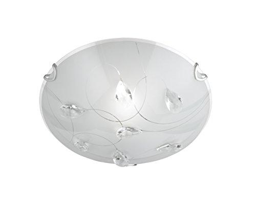 Trio Leuchten Deckenleuchte, Glas weiß glänzend mit klarem Glasdekor, Durchmesser 25 cm 602400106