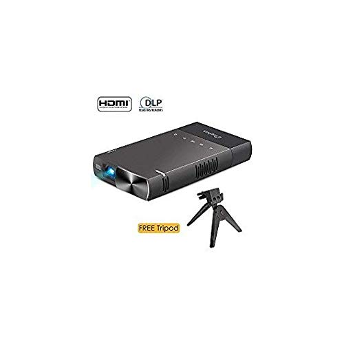 DLP Mini Projector for iPhone, ELEPHAS 100 ANSI Lumen 480P Pico Video Projector HDMI USB TF Micro SD Card AV Ideal for Camp Backyard Outdoor Movie Night Home Cinema TV Laptop Game, Black-Silver.