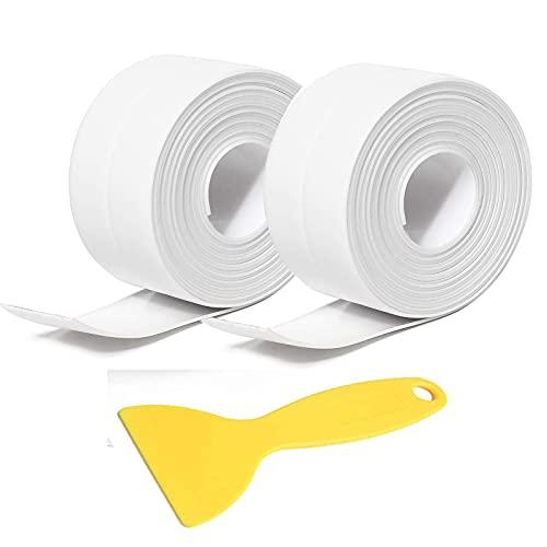 Caulk Strip Tape, White PVC Waterproof Self-Adhesive Sealing Tape for Kitchen Bathtube Bathroom Toilet Sink Floor Wall Corner Edge with Tool, 2 PCS, W:38mm L:11Ft