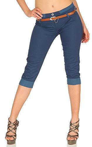 Malito Capri-Pantalones con imitación de Cuero cinturón 5398 Mujer (XL, Color de Tejano)