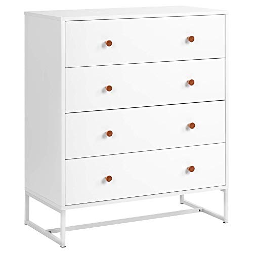 H-CAR Bedside Table White Nightstand Cabinet 4 Drawer Chest Side Chest Easy Assembly Chest Of Drawers For Bedroom Bathroom Living Room