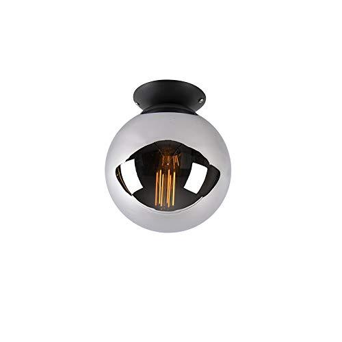 QAZQA Art Deco Art deco plafondlamp zwart met smoke glas - Pallon Glas/Staal Bol Geschikt voor LED Max. 1 x 25 Watt