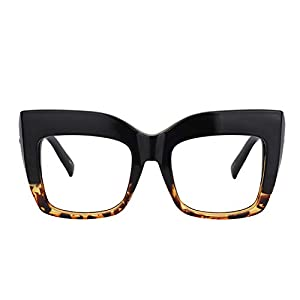 Zeelool Vintage Oversized Thick Cat Eye Glasses for Women with Non-prescription Clear Lens Alberta FP0668