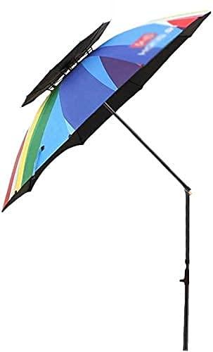 H-BEI Sombrilla para el Sol Sombrilla de Playa portátil para jardín con ventilación de Aire Parasol Refugio para el Sol, protección UV 50+ Sombrillas de jardín para Patio, Pesca, Piscina