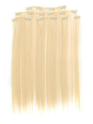 Prettyland 7-teilg SET Statik-frei Clip-In 50cm glatt lang-Haar strähnen Haarteil Haarverlängerung Platin-Blond 613