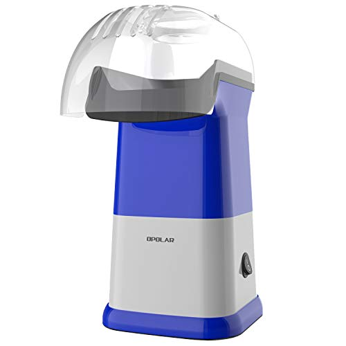 OPOLAR Fast Hot Air Popcorn Popper, No Oil Popcorn Maker Machine with Measuring Cup and Removable Top Cover, Ideal for Watching Movies and Holding Parties in Home, Healthy, 1200W, Blue
