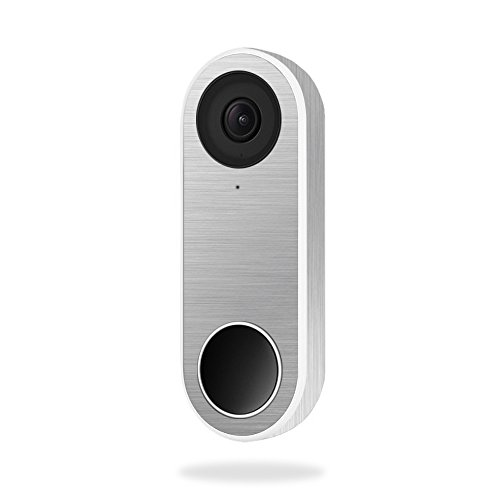 MightySkins Skin Compatible with Nest Hello Video Doorbell - Cold Steel   Protective, Durable, and Unique Vinyl Decal Wrap Cover   Easy to Apply, Remove, and Change Styles   Made in The USA