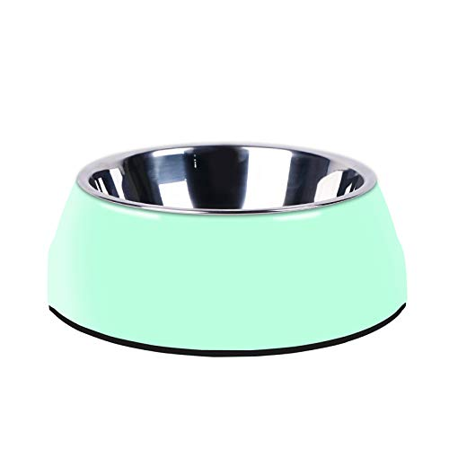Manda Ocean Pet Bowls Stainless Steel Dog Cat Pet Bowl Universal Pet Water and Food Bowls 4 Sizes and 5 Colors Available (S, Green)