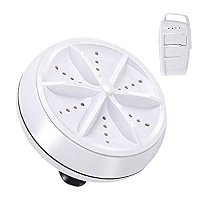 XIHUANNI Multifunctional Ultrasonic Washing Machine, 9cm Round Mini Portable Cleaning Tool, Washing Device for Travel Outdoor Use