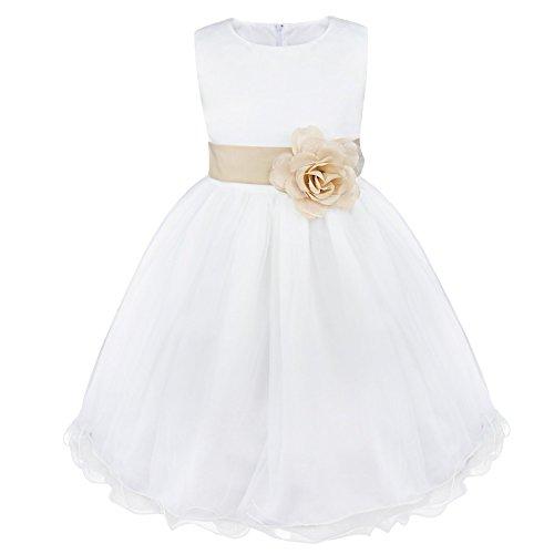 Freebily Vestido Elegante Blanco Boda Fiesta para Niña (2 a 14 Años) Vestido de Princesa para Dama de Honor