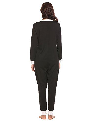 Schlafoverall Jumpsuit Damen Overall Pyjama Onesie Einteiler Lang Strampler Kuschelig Schlafanzug Nachtwäsche Langarmshirt Playsuit mit Reißverschluss - 5