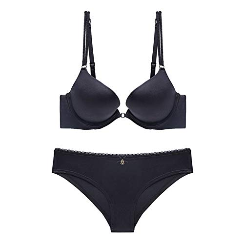 ZUEHF Lace Bras Bralette Women's Comfort Naadloze BH set met Underwire Gathering Verstelbare Ondergoed (Color : Black, Size : 80B)