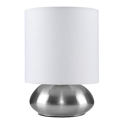MiniSun – Runde Touch-Me Tischlampe mit gebürstetem Chrom-Finish und weißem Stoffschirm inklusive Kabel und Stecker – Nachttischlampe mit Touch-Dimmer