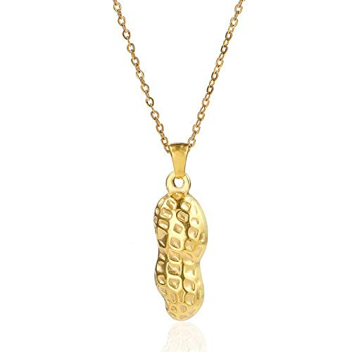 GenericBrands Collar Colgante nueces Collar de Cacahuete Acero Inoxidable Cacahuetes Concha Colgante Collares para Mujeres y Hombres joyera
