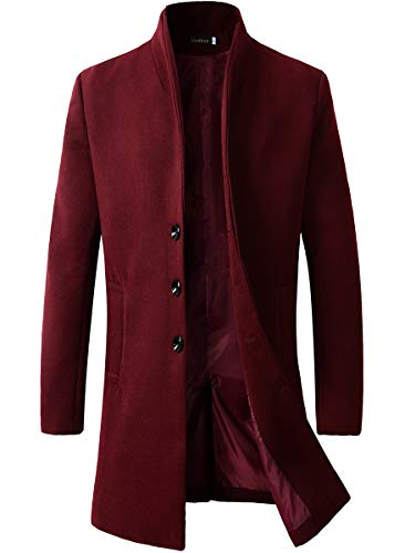 Men's Trench Coat Winter Long Jacket Button Closer Overcoat (168 Burgundy, L)