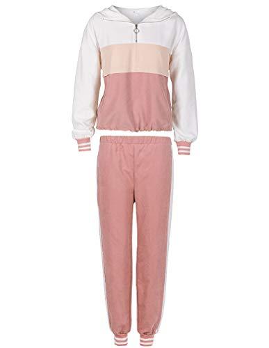 FTCayanz – Tuta da ginnastica da donna, 2 stagioni, con cappuccio e pantaloni lunghi Colore: rosa. L