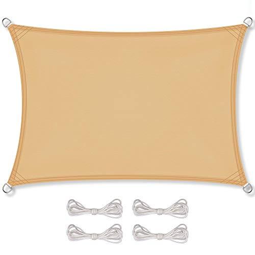 CelinaSun Sonnensegel inkl Befestigungsseile PES Polyester wasserabweisend imprägniert Rechteck 3,5 x 4,5 m Sand beige