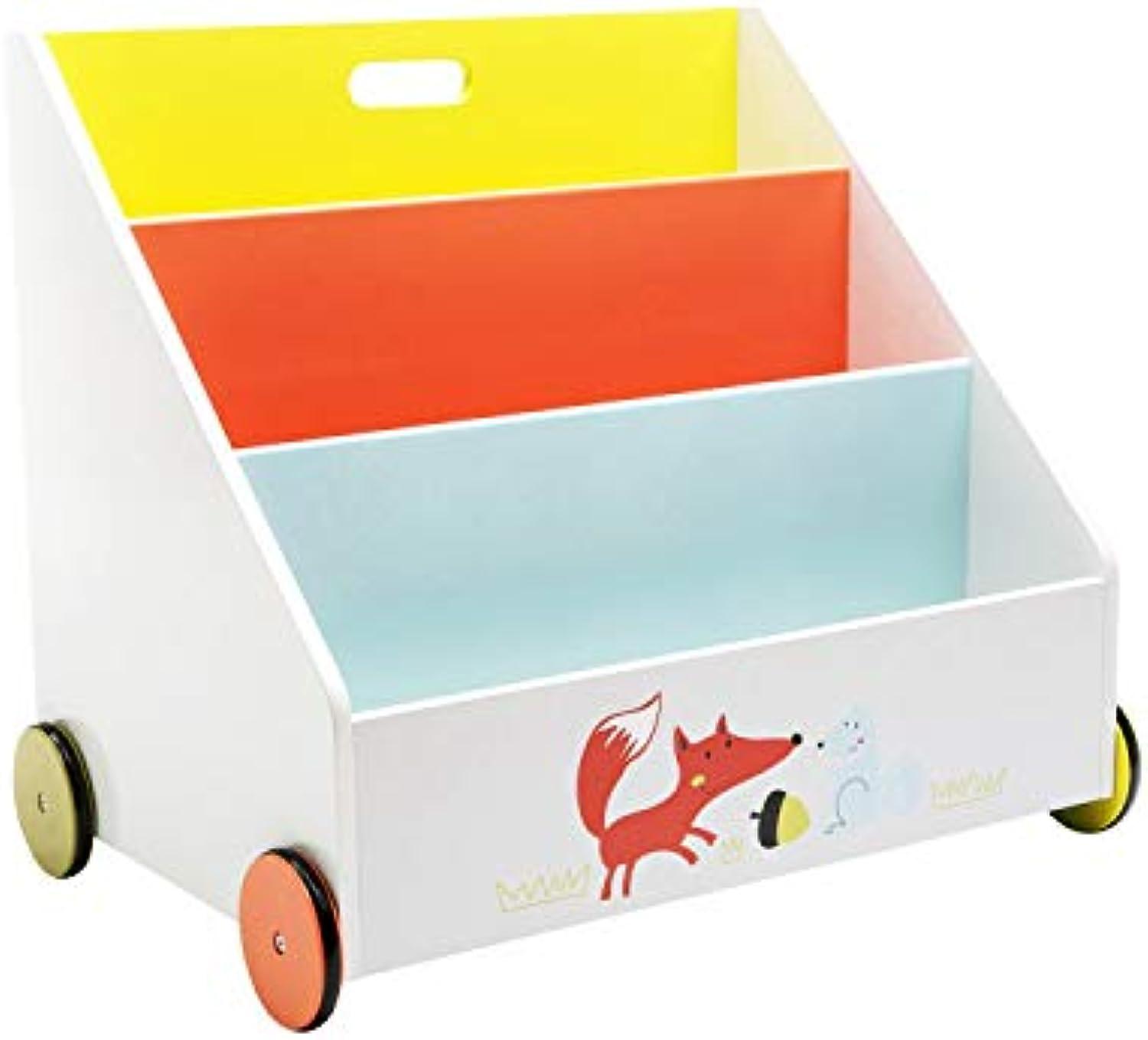 HONNIEKIS Bücherregal Kinder, Bücherregal Holz für Kinder 1-5 Jahre Alt, Kinderbücherregal- mit Rdern, Bücher Aufbewahrung, Bücherregal kinderzimmer