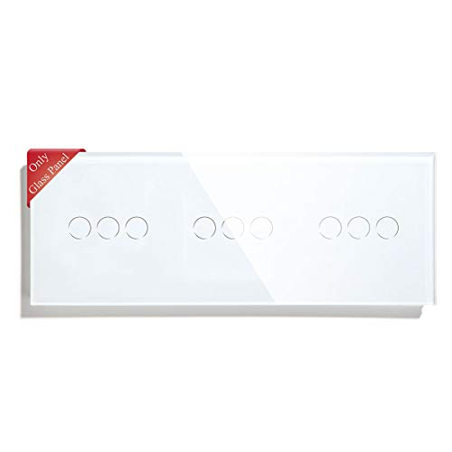 BSEED Nueva Versión Interruptor de Luz de Pared Panel de Vidrio Táctil Solo Triple 3 Gang Blanco 228 mm * 86 mm