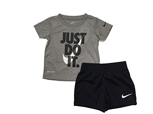 Nike Boy`s Dri-Fit T-Shirt & Shorts 2 Piece Set (Black(66F026-023)/White/Grey, 4)