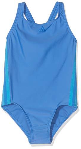 adidas Mädchen Athly V 3-Streifen Badeanzug, True Blue/Shock Cyan, 140