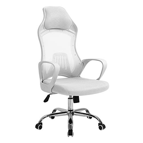 Seatingplus High Back White Mesh Computer Chair, Ergonomic Swivel Office Chair with Lumbar Support and Adjustable Height