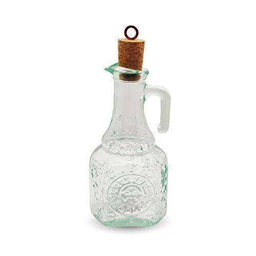 TAPAS & ENVASES RIOJA Vinagreras antigoteo de Cristal con asa y tapón de Corcho Incluido vinagrera aceitera Cristal de diseño con Capacidad para 250 ml (1 Unidad)