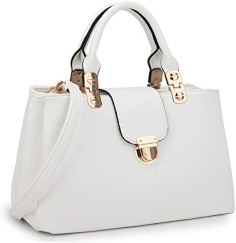 Dasein Women Satchel Handbags Top Handle Purse Medium Tote Bag Vegan Leather Shoulder Bag White product image