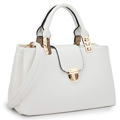 Dasein Women Satchel Handbags Top Handle Purse Medium Tote Bag Vegan Leather Shoulder Bag White