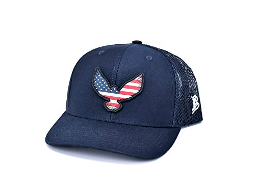 Branded Bills 'Freedom Eagle Rogue' PVC Patch Hat Curved Trucker - One Size Fits All (Navy/Navy)