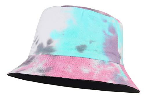 Cloudkids Sombrero Pescador Mujer Hombre Algodón Estampado Tie-Dye Plegable Bob Sombrero de Sol Unisex 58cm Vintage Gorra Viajar Casuel Verano (Rosa)