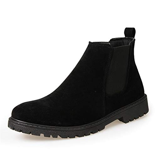Gym Chelsea Boot for Men Toble Boots Pull on Suede Square Toe AS-Slip Elastic Sides Stitching Patchwork Color Sólido High Top Shoes Ligero Peso Casual (Color : Black, Size : 42EU)