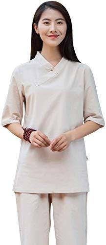 HLZY Uniformes Tradicionales Chinos de Tai Chi Kung Fu Mujer Tai chi Uniforme algodón Zen meditación Traje Chino Kung fu Ropa Ropa de Yoga con Media Manga (Color : Khaki, Size : UK XS/Tag S)