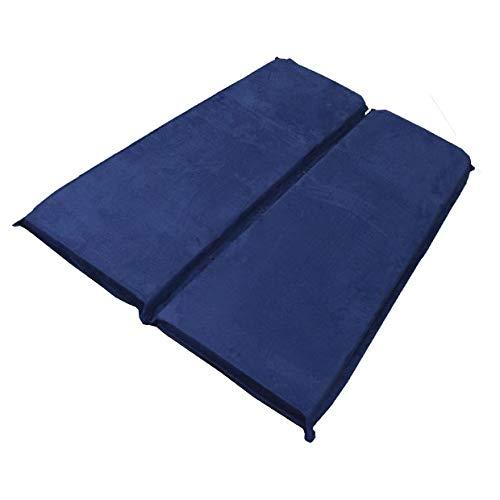 車中泊 マット エアーベッド 簡易ベッド 高機能ウレタン 自動膨張式 マットレス 厚さ10㎝ 2枚入 コンパクト 高級ベロア素材 (ネイビー)